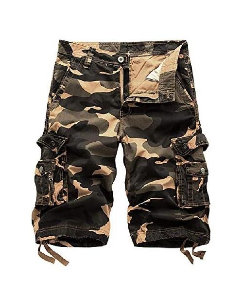 TOSKIP Men's Camouflage Cargo Shorts Camo Outdoor Work Short