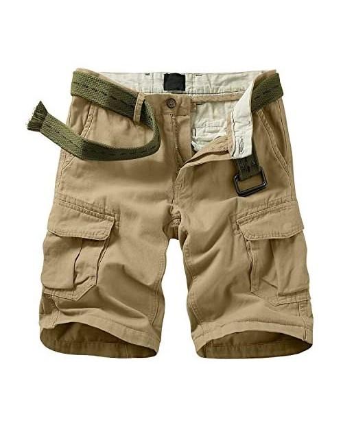 XNMAYA Men's Cargo Shorts Relaxed Fit Twill Cargo Shorts with 6 Pockets Khaki