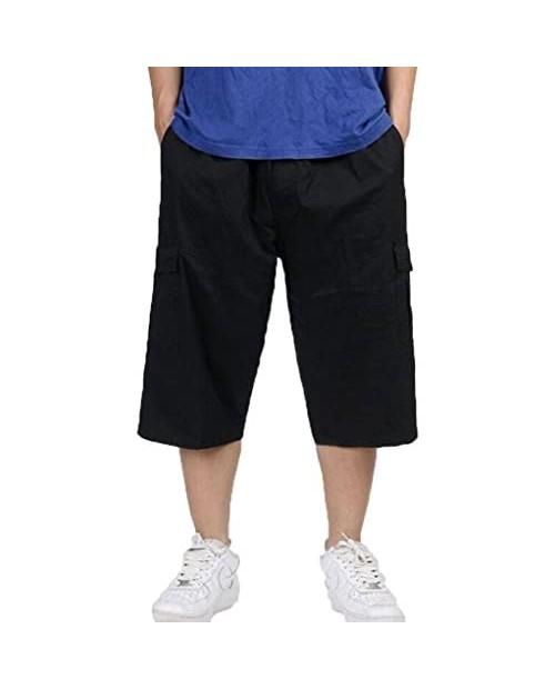 YangguTown Men's Cotton Large Cargo Shorts Elastic Waist Walkshorts with Drawstring and Stretchy