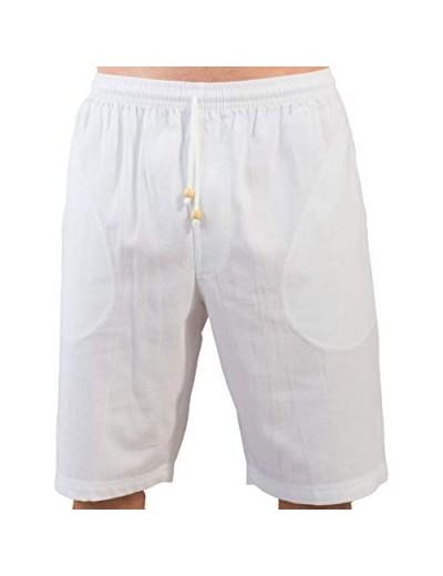 Yute White Beach Shorts for Men - Drawstring Bermudas - Casual Summer Wear Clothes - Mens Elastic Waist Pants